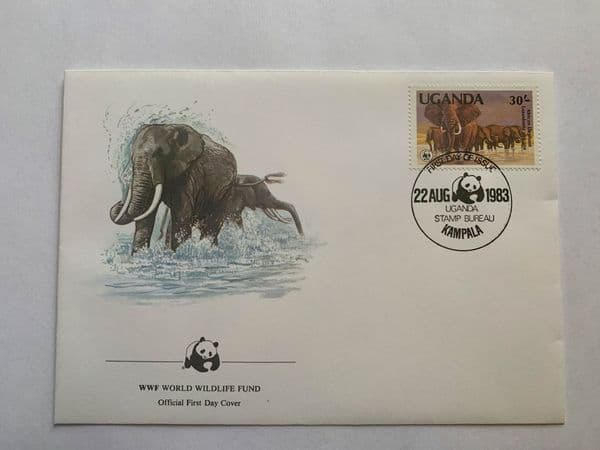 WWF First Date Of Issue Stamp with Elephant Aug 1983 Uganda 30c